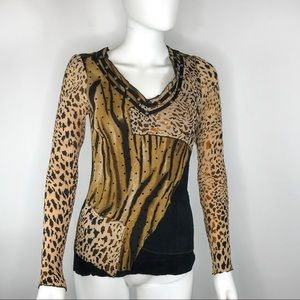 Alberto Makali Sequin Leopard Animal Print Blouse